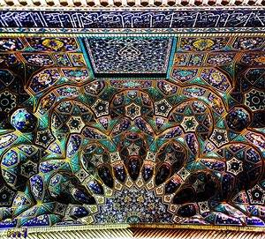 Ceiling of Shahe cheragh shrine in Shiraz, Iran.