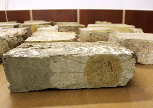 Sample glazed bricks with patterns,
