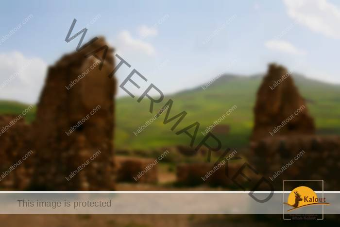 The atmospheric ruins of Takht-e Suleiman, a sacred site in rural Iran.