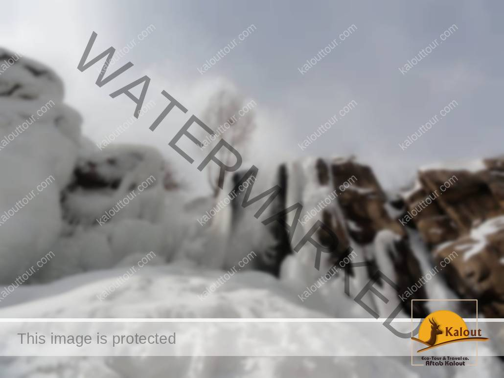 Ganjnameh Waterfall in Winter