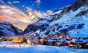 Solaise village at dusk, lights on, Val d'Isere.