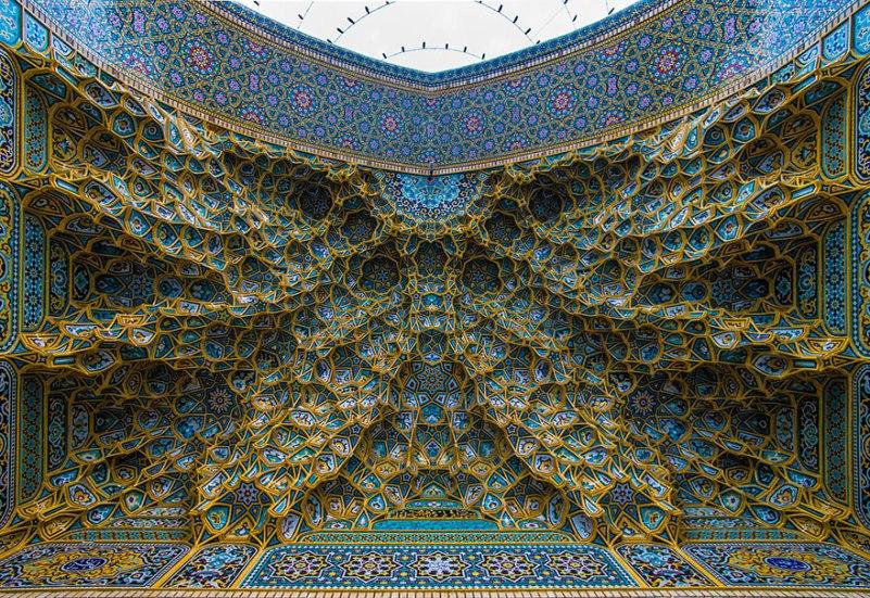 Mesmerizing Mosque Ceilings That Highlight The Wonders Of Islamic Architecture Fatima Masumeh Shrine Qom Iran.jpg