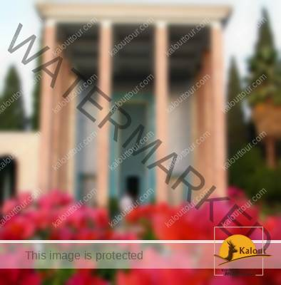 Saadi's Mausoleum inside a Persian Garden, Shiraz, Iran