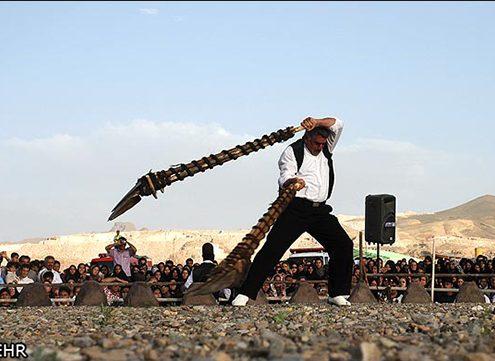 Performing shovel turning on Nimvar platform for the spectators
