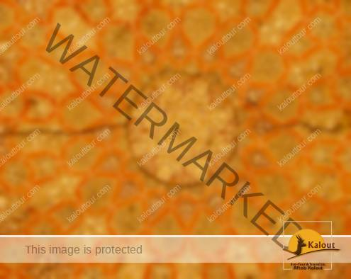 Orange-color decoration of Soltaniyeh balcony under its dome